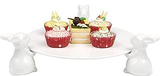 Decorative White Ceramic Bunny Rabbit Cake Stand, 16-Inch Dessert Plates Food Server Display Tray