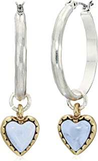 One Size Two Tone Lucky Brand Womens Heart Charm Hoop Earrings TWO TONE