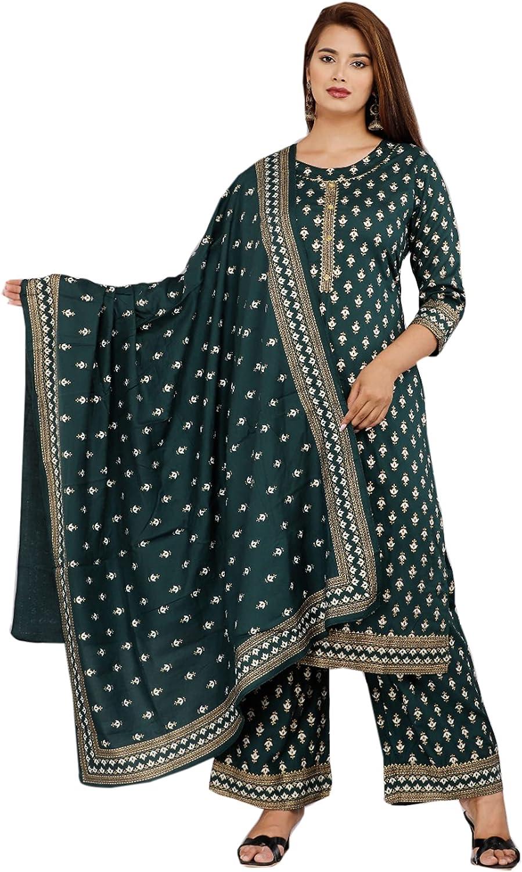 Blue Traditional Festival Indian Women Reyon Straight Palazzo Kurti Set Ethnic Cocktail Bandhani Print Suit 446l