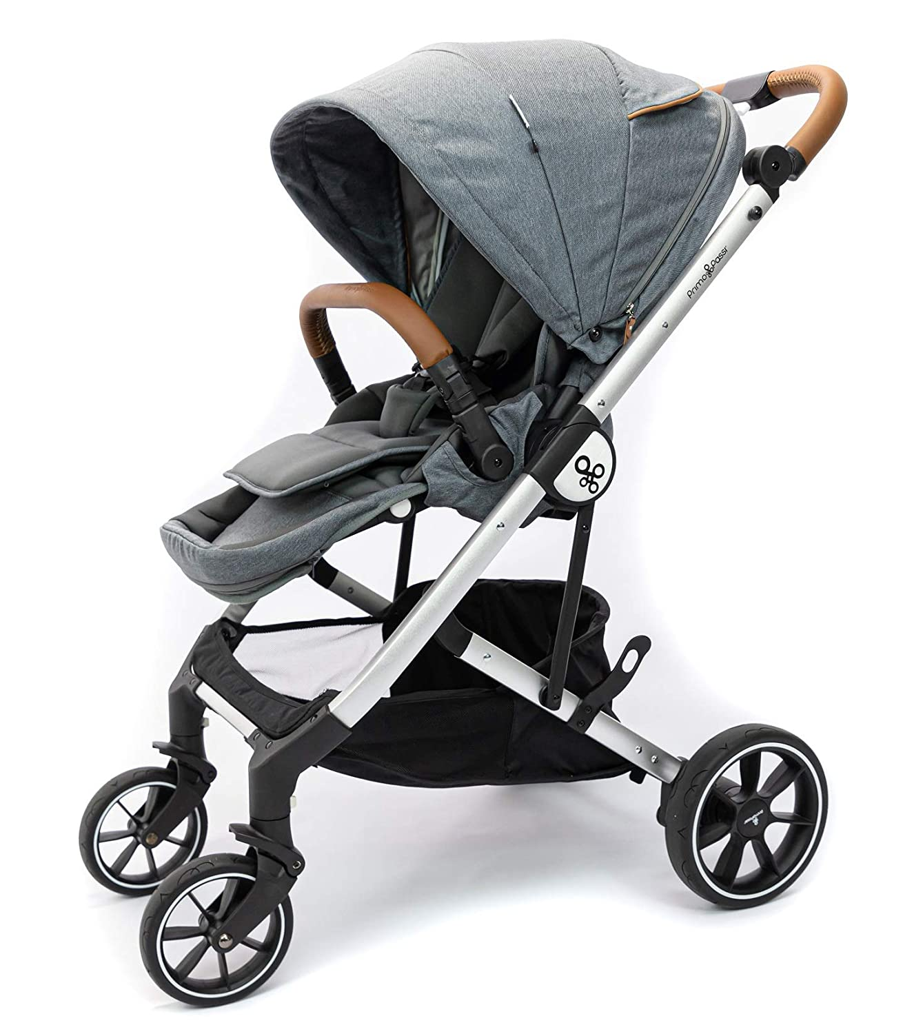 Primo Passi Icon Baby Stroller - Compact Stroller for Travel with Adjustable Footrest, Ventilated Canopy and Reversible Seat (Grey Melange)