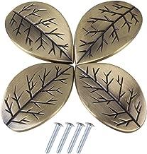 RDEXP Bronze Zinc Alloy Single Hole Retro Leaves Design Cabinet Drawer Doors Pull Knob Handle Pack of 4