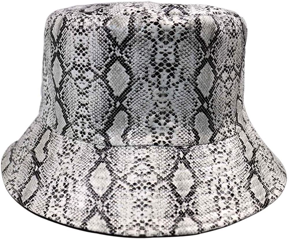 Richea Milwaukee Mall Lowest price challenge Womens Snakeskin Printed Leather Reve Cap Foldable Bucket