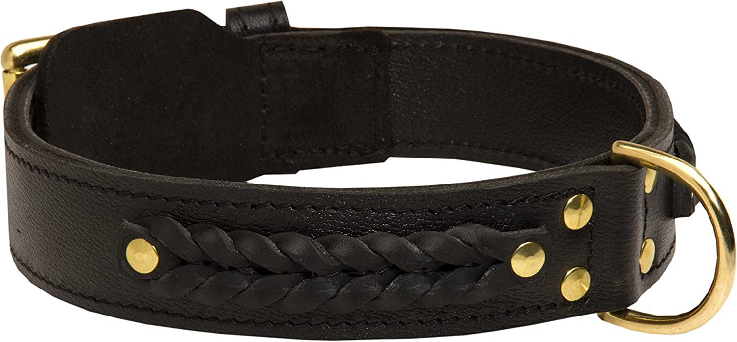 "18 Gorgeous Wide Brown Leather Dog Collar with Braids  ""Braided Classic""  1 3 4 inch (45 mm) wide"