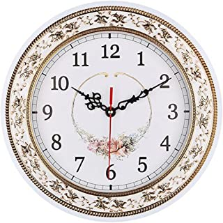 Tebery Silent Modern Quartz Flower Design Decorative Wall Clock Non-Ticking Digital 11-Inch Clock (White)