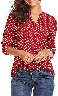 قمصان نسائية طويلة برقبة على شكل حرف V من Fankle بتصميم نقاط البولكا طباعة 3/4 كم برقبة على شكل حرف V كاجوال