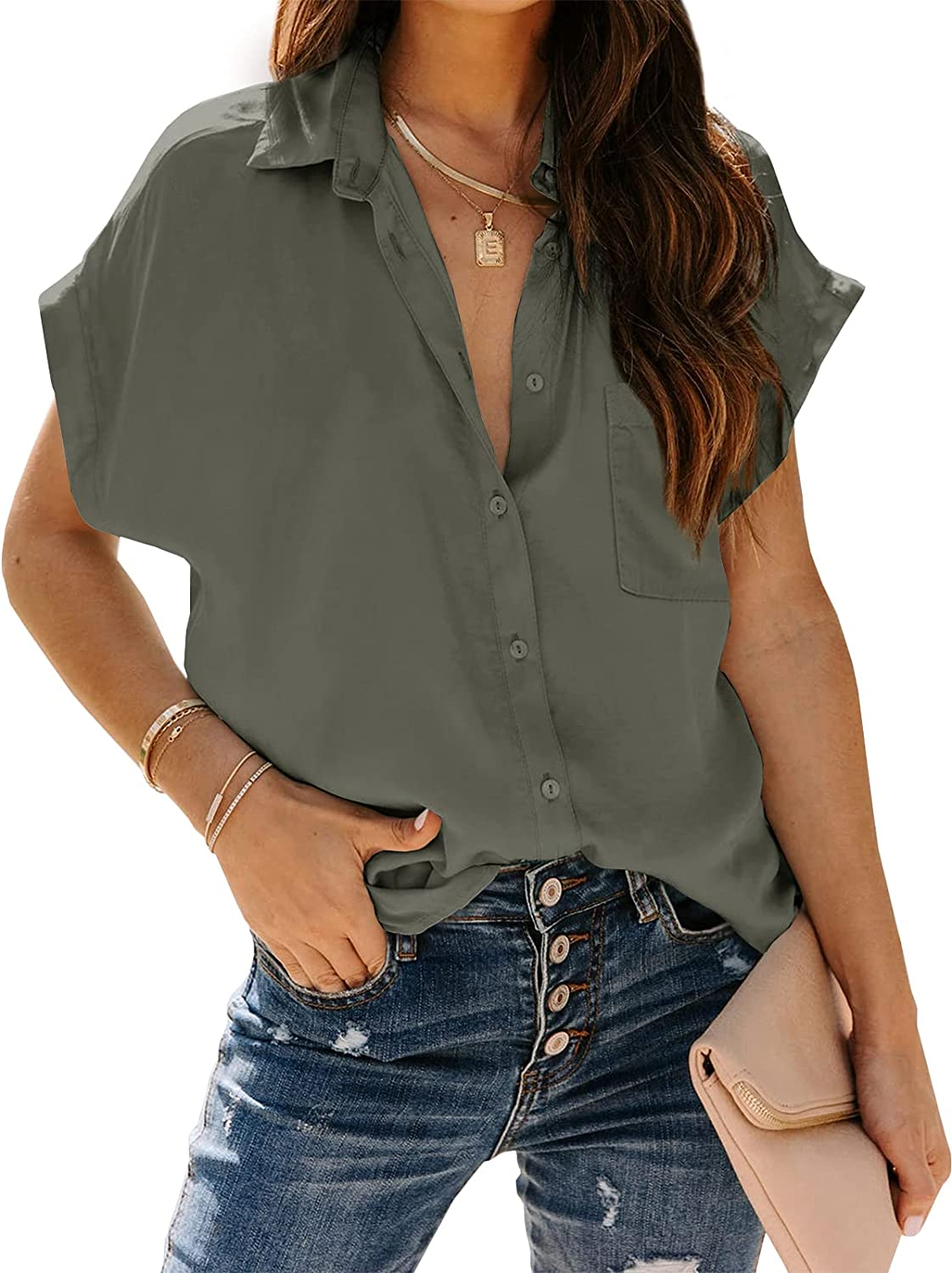 Inorin Womens Casual Button Down Short Sleeve Shirts V Neck Collared Shirt Tops Blouses with Pockets