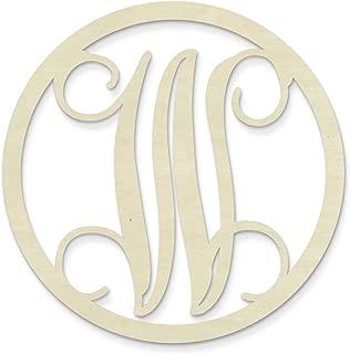 UNFINISHEDWOODCO Single Letter Circle Monogram-W, 19-Inch, Unfinished