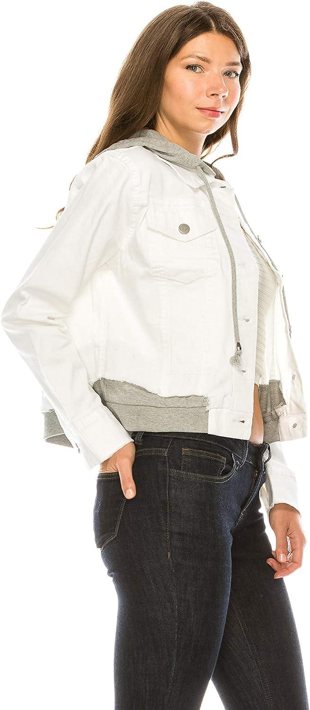 Khanomak Women's Denim Jean with Terry Hoodie J half Patch Max 45% OFF Detachable