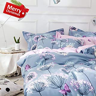 VClife Modern Twin Bedding Sets Floral Branches Butterfly Printed Duvet Comforter Cover Sets Girl Teens Cotton Pink Blue Bedding Collection, Soft Hypoallergenic, Lightweight, Breathable, Durable, Twin