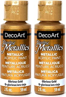 2-Pack - DecoArt Dazzling Metallics Acrylic Colors - Glorious Gold, 2-Ounces Each
