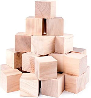 Unfinished Wood Blocks Cubes for Arts & Crafts Toy Projects, Mini Baby Size Puzzle Making Set (24 Pieces)
