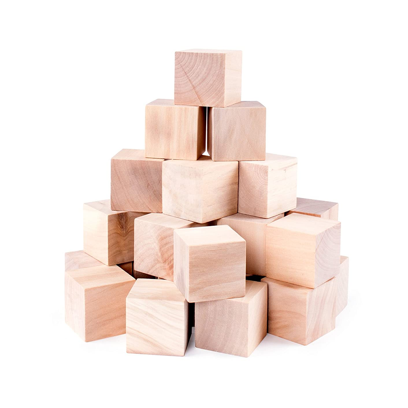 Unfinished Wood Blocks Cubes for Arts & Crafts Decorations Toy Projects, Mini Baby Size Puzzle Making Set (24 Pieces)