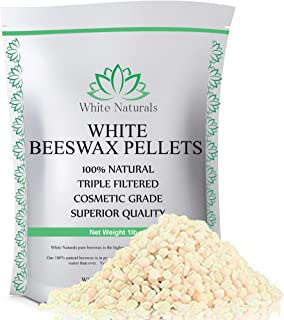 White Beeswax Pellets 1 lb (16 oz), Pure, Natural, Cosmetic Grade, Top Quality Bees Wax Pastilles, Triple Filtered, Great For DIY Lip Balms, Lotions, Candles By White Naturals