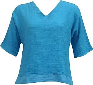 Ezze Wear Women`s Dotty Gauze Abby Cotton Top Aqua