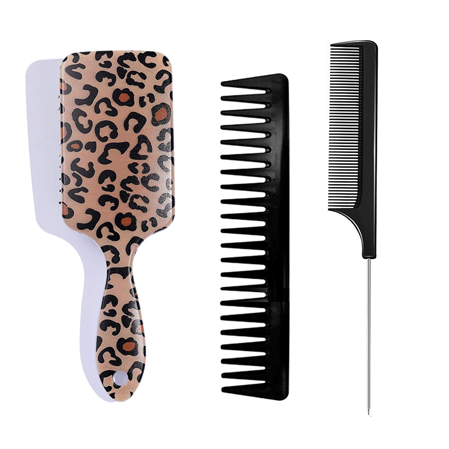 DKAF 3Pcs Hair San Diego Mall Brushes for Brush Leopard with Print Rapid rise Women