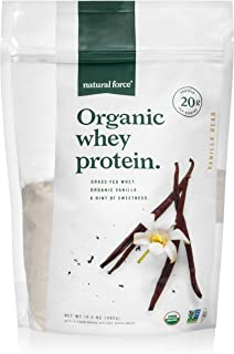 Natural Force® Organic Whey Protein Powder 14.2 oz. *Premium Vanilla Flavor* A2 Grass Fed Whey Protein Concentrate – Ranked #1 Best Organic Whey - Certified Keto, Paleo Friendly, Non-GMO and Humane
