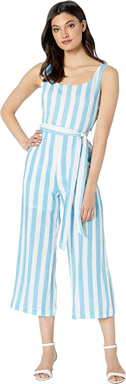 Woven Striped Jumpsuit with Waist Self Tie