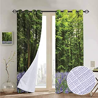 NUOMANAN Modern Farmhouse Country Curtains Woodland,Bluebell Flowers Forest,Design Drapes 2 Panels Bedroom Kitchen Curtains 54