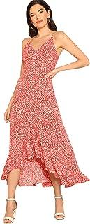 Floerns Women's Button-up Print High Low Cami Polka Dot Dress