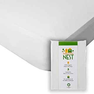 Inspirational NEST Premium Organic Baby Crib Sheet - 100% Turkish Cotton - White Jersey Knit - Snug Fit, Ultra-Comfy, Clea...