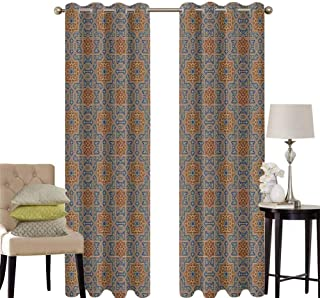 hengshu Moroccan Grommet Curtains for Bedroom Traditional Arabic Design Tile with Geometric Floral Motifs Curly Details for Backdrop Curtain W42 x L63 Inch Blue Sepia Redwood