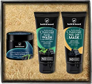 Bold And Beard Activated Charcoal Facial Kit Of Mask, Scrub And Face Wash For Complete Skin Care Regime