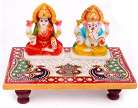 Indian Handicrafts Export Laxmi Ganesh Ji with Marble Choki (6x4 inches)