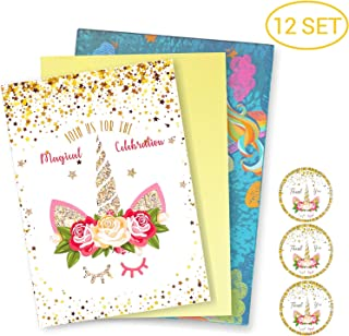 12 Pack Unicorn Invitation Cards Kits with Envelopes and Stickers, Invite Cards for Baby Shower, Birthday, and Special Events, Parties Invitation Supplies Glitter Horn