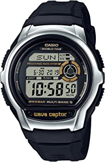 Casio Men`s Wave Cepto Stainless Steel Quartz Watch with Resin Strap, Black, 22.4 (Model: WV-M60-9ACF)
