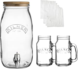 Kilner Kombucha Making Set, 3-Liter Glass Drink Dispenser with Wooden Lid, Twine and Muslin Squares for Homebrewing, Leakproof Spigot, Two 13-1/2-Fluid Ounce Handled Jars for Serving