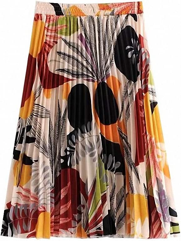 Dawery Womens Vintage Floral Print Pleated Skirt Elastic Waist Faldas Mujer Ladies Casual Chic Summer Knee Length Skirts