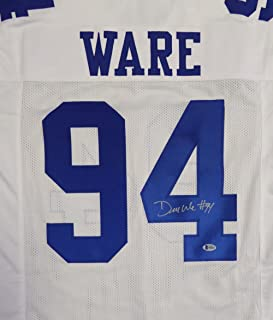 DALLAS COWBOYS DEMARCUS WARE AUTOGRAPHED WHITE JERSEY BECKETT BAS STOCK #119706