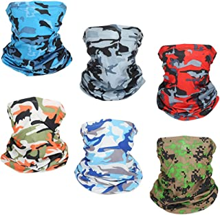 6 PCS Sun UV Protection Face Mask Neck Gaiter Windproof Scarf Sunscreen Breathable Bandana Balaclava for Sport&Outdoor…
