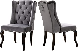 Meridian Furniture Suri Collection Modern | Contemporary Grey Velvet Upholstered Dining Chair with Wood Legs, Luxurious Button Tufting, Nailhead Trim, Set of 2, 23