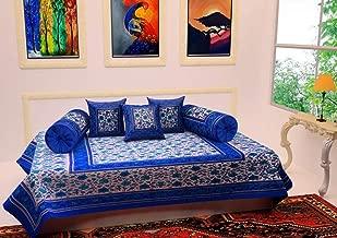 SheetKart Cotton Floral Printed 6 Piece Diwan Set Diwan e-Khas, 1 Bedsheet, 2 Bolsters, 3 Cushion Covers, Sapphire Blue