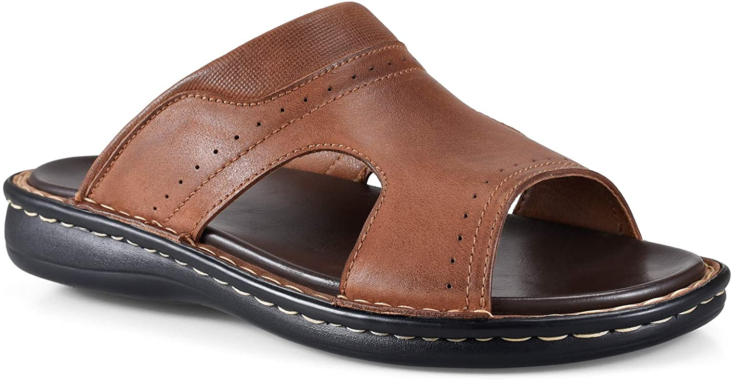 FIEEIF Mens 2021 new Genuine Leather Slide Sandals Low price Comfort Open Toe Arch