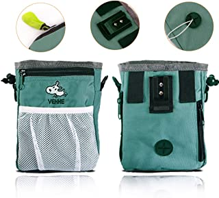 VEHHE Dog Treat Pouch – Pet Training Bag Multi-Design Carries Pet Toys Dog Food Kibble Books Treats Poop Bag – Convenient Ways to Wear with Waist and Shoulder Reflective Straps and Belt Clip