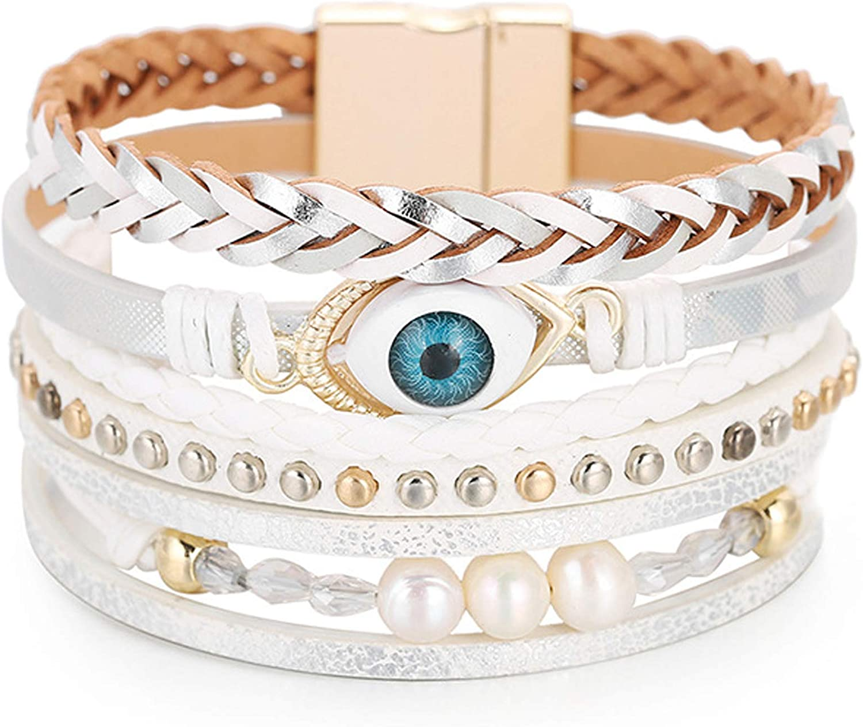 Hutou Cross Leather Bracelets for Women Evil Eye Bracelets for Teen Girls Birthday Gifts Boho Jewelry