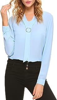 iClosam Women Casual Bow Tie Chiffon V-Neck Short Sleeve Blouse Tops
