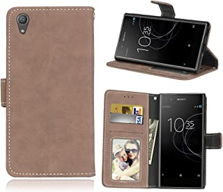 Phone Cases & Covers Flip Stand Case Cover Retro Style PU Leather Case with Kickstand and Card Slots for Sony Xperia XA1 Plus Mobile Phone Cases (Color : Beige)