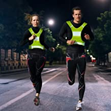 ShineU LED Reflective Safety Vest Flashlight Warning Fit Women Men Kids for Outdoor Sport Running Cycling - Led Glowing Suspenders Reflective Running Gear