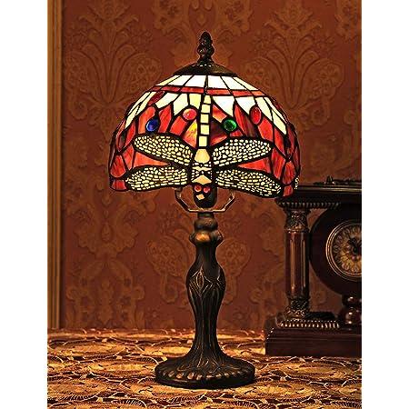 8 pouces de style vintage européen vitrail libellule et perle couleur chaude série lampe de table lampe de bureau lampe de chevet