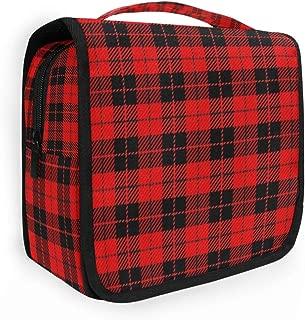 CaTaKu Vintage Plaid Tartan Cosmetic Bag Toiletry Bag Multifunction Bag Cosmetic Portable Makeup Waterproof Travel Hanging Organizer Bag for Men & Women