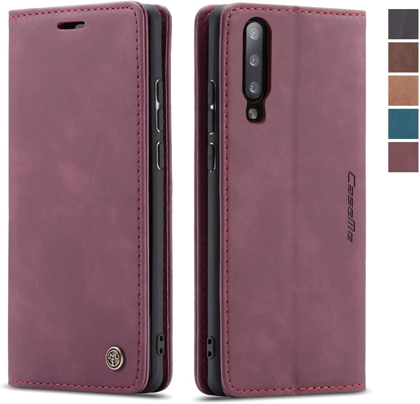 Samsung Galaxy A50 Case,Samsung Galaxy A50 Wallet Case Cover,Magnetic Stand Flip Protective Cover Retro Style Leather Flip Cover Durable Shockproof Protective Cover for Samsung Galaxy A50(Wine Red)