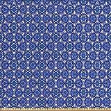 ABAKUHAUS Blau Stoff als Meterware, Indigo Floral