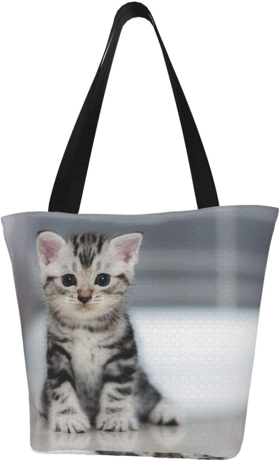 AKLID Cute Gray Cat Extra Large Water Max 78% OFF Tote Canvas New popularity Bag Resistant