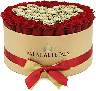 PALATIAL PETALS Luxury Roses That Last A Year | 365 Day Year-Long Lasting Roses | Preserved Forever Rose Arrangement Flower Box Bouquet | Birthday Gifts for Her Women Girlfriend Mom (Gold Heart/Red)