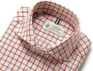 ルイジボレッリ ルイジボレリ LUIGI BORRELLI / 20SS!製品洗いリネンコットンポプリンチェックホリゾンタルカラーシャツ「NA35(9034)」 (テラコッタ×グレージュ×ホワイト) メンズ