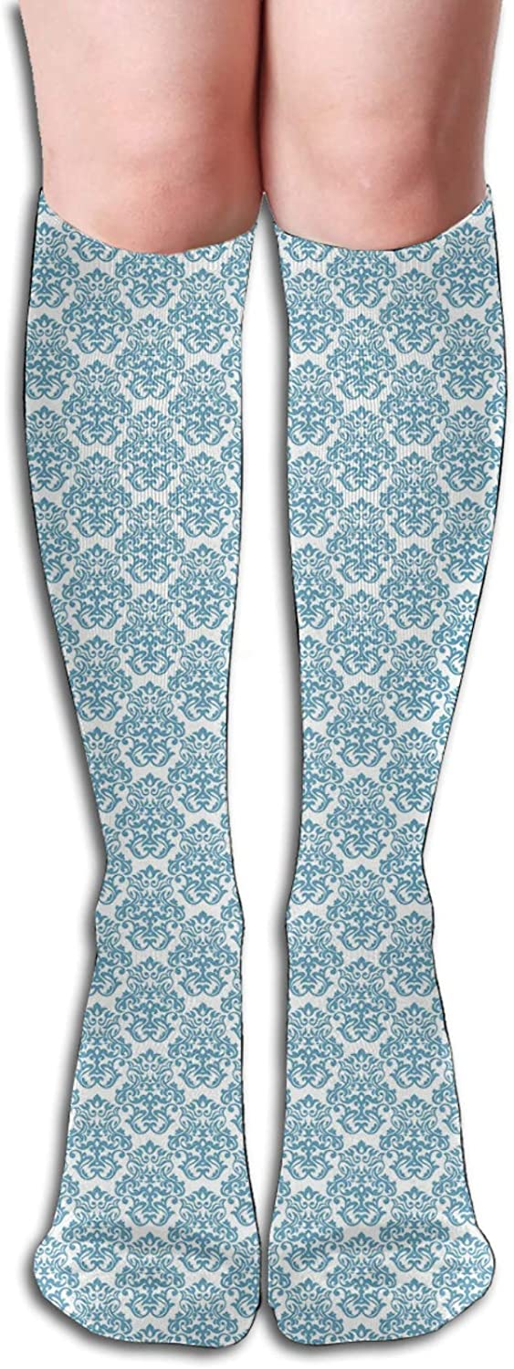 Men/Women Sports socks Soft Abstract Damask Motif With Middle Eastern Inspirations Symmetrical Design Wicking Breathable Cushion Comfortable Casual Crew Socks