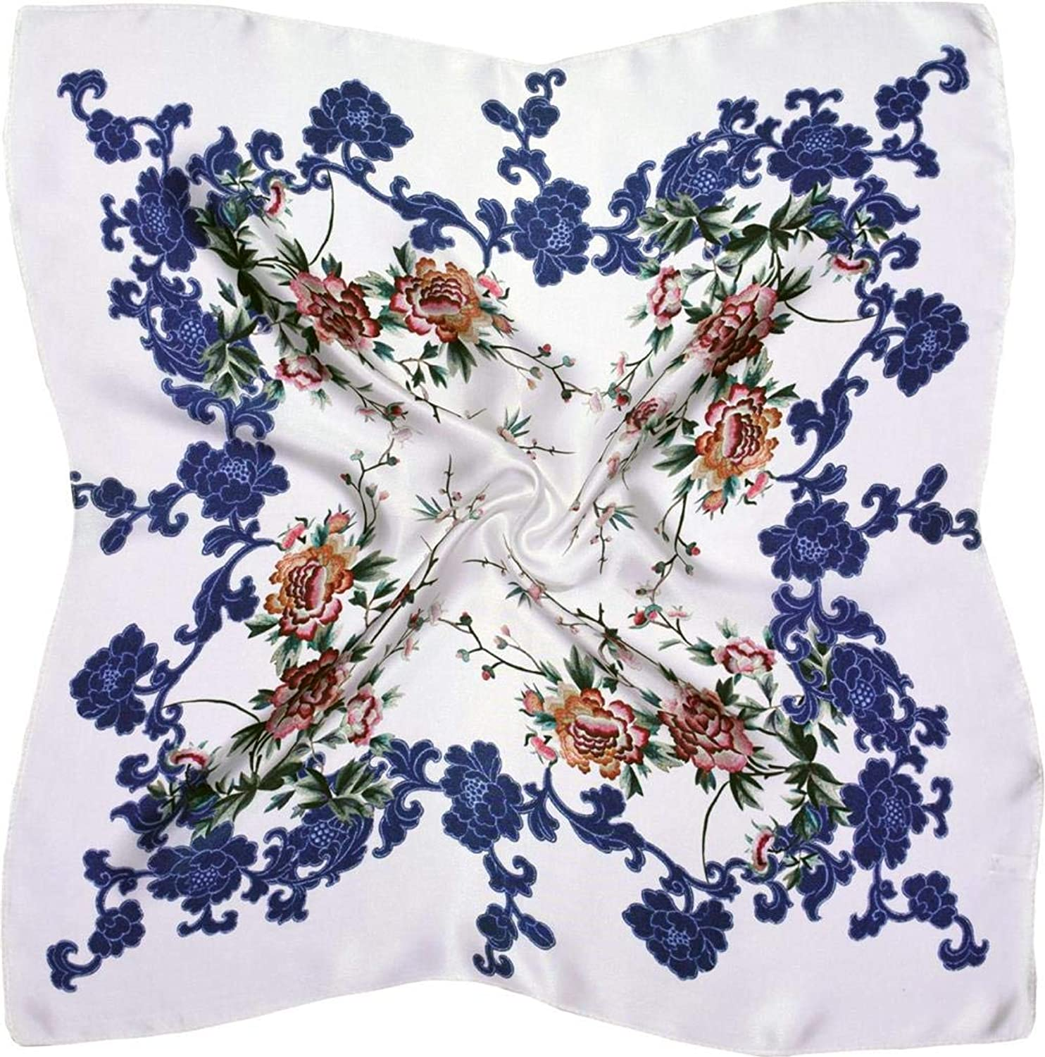 bluee White Flowers Thick Small Silk Square Scarf